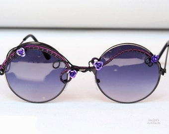 Boho sunglasses/Hippie accessories/Wire wrapped bohemian/Festival sunglasses/Purple/Gothic Eyewear/Wearable art/Fashion/Goth/Gift for her