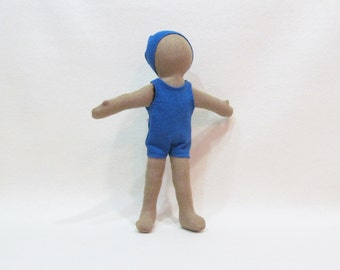 "Basic Little doll 11"" tall, minimalist hand made cloth doll, modern and simple doll, gender neutral, 11 color choices"