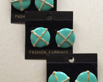 80s vintage retro over sized gold tone metal pierced earrings with aqua blue enamel--3 pairs of the same style--bridesmaid earrings