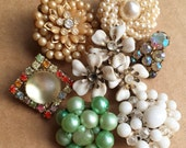 craft lot destash of vintage clip earrings for diy jewelry or wedding bouquets--mixed lot of 6