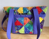 Quilted Pieced Purse, Footed Purse, Multicolored Purse, by Florence