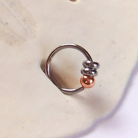 lip ring captive bead ring single copper beaded captive