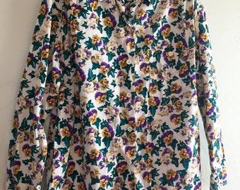 Vintage Pansy Print Shirt Preppy