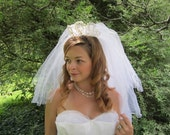 ON SALE Vintage 1950's Wedding Veil White Tulle 50's Veil Beaded Crown Tiara 50s Bridal Wedding Acessories