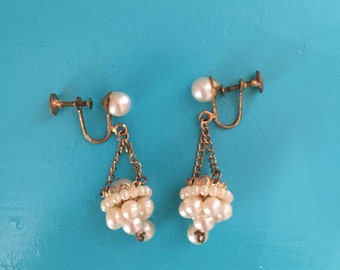 Pearl Earrings Vintage Goldtone Chandelier Basket Earrings Renaissance Medival