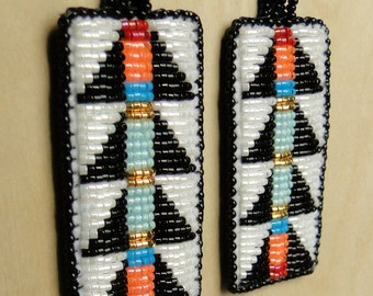 White and Black Lizard Spine Design Beaded Earrings