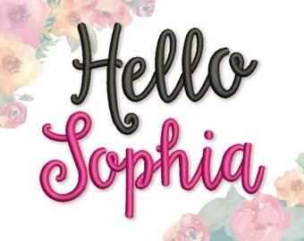 Coupon Codes! Script Embroidery Font 1'' 2'' 3'' Sizes Original Hello Sunshine Alphabet AL018
