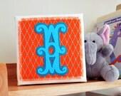 New baby gift - Initial art - Felt appliqué wall art - Children's room art - Circus style font initial - Felt art - Gift for children's room