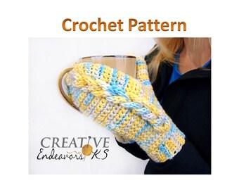 PDF Mitten Pattern, Cable Crochet Pattern, I Chord Mitten Tutorial, Braided Cable Mitten, Braided I Chord Mitten, Instant Download Pattern
