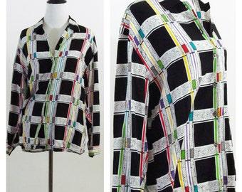 Vintage 1980s Blouse - Black white checkered secretary Blouse - Grunge button up top - Size medium