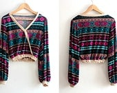 Bohemian Wrap Top Multicolor Ethnic Print Blouse Womens Clothing Size Small Medium S / M