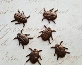 Vintaj Natural Brass {Lucky Ladybug Charm} 6 Pcs -Exclusive *Limited Stock*