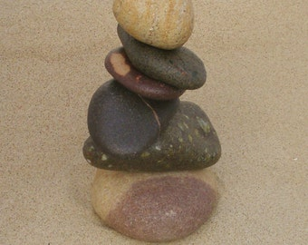 Up North Copper Harbor Beach Stone Cairn #20, Rock Cairns, Stacked Stones, Lake Superior Rocks, Keweenaw Rocks, Nature Inspired Home Decor