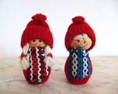 Sweden Girl and Boy Tomte Nisse Pair Swedish Folk Art