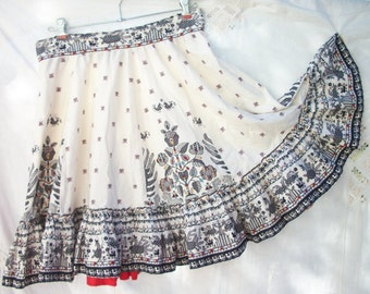 Vintage Aztec Print ~ Circle Skirt ~ White Black and Red ~ Tribal ~ Cotton ~ with Birds & Flowers ~ Awesome Print ~ OOAK