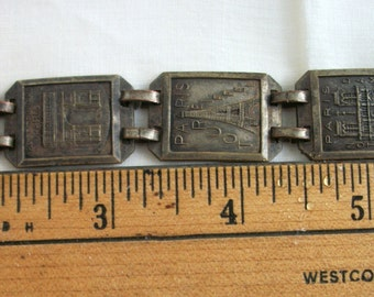 Bracelet ~ Paris ~ France ~ Traveler  Vintage Souvenir ~ Slide Fastener ~ Fancy Panels ~ Antiqued Metal