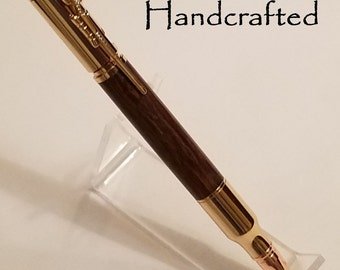 b - Keen Handcrafted Handmade Ironwood 30 Caliber Bolt Action 24kt Gold Bullet Cartridge Pencil