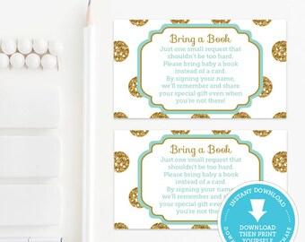 Mint & Gold Book Request Card, Baby Shower Games, Gold Glitter baby shower printable, Gold Polka Dots, Baby Girl, Baby Boy, Instant Download