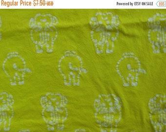 40% OFF Crinkly Yellow Batik Cotton Fabric Elephant Fabric White and Yellow Fabric - 1 1/8 Yard - CFL0883