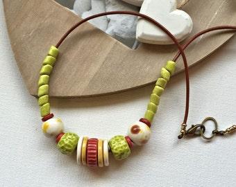 Handmade necklace, ceramic, boho, holiday necklace, lime green necklace, UK shop