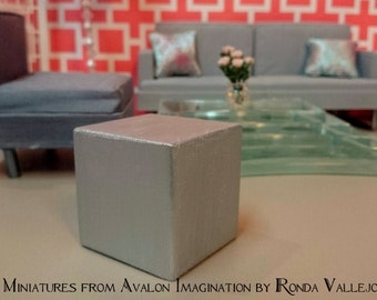 1/6th scale Hollywood Regency wood cube table with silver metallic finish