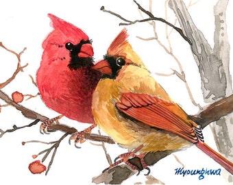 "Art print 5"" x 7"" of an original watercolor - Cardinal pair, Bird painting, Small gift idea, Backyard bird, Home decoration idea"