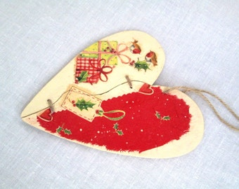 Christmas Wall Decor Christmas Ornament Heart Door Hanger Birds Berries Winterberry Holly Our First Christmas