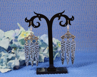 Silver Plated Hammered Spike Dangle Earrings with Stainless Steel Ear Wires