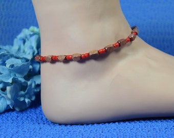 Wood and Seed Bead Stretch Ankle Bracelet