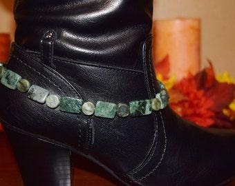 Boot Anklet.....Natural Green Jasper Boot Anklet