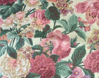 Floral Cotton Fabric / PInk Floral Fabric / Cranston Print Works / 4 Yards