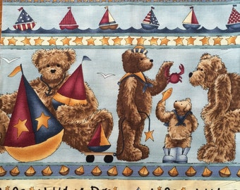 Cotton Fabric / Teddy Bear Fabric / Nursery Fabric Panel / Baby Fabric / Nursery Fabric / Bear Fabric / Sailboat Fabric / Baby Boy Fabric