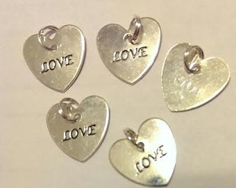 """CLEARANCE 25 Love Heart Shaped Bright Silver Charms  - 5/8"""" Wedding Shower Invitation Tie On Gift Tag Favors"""