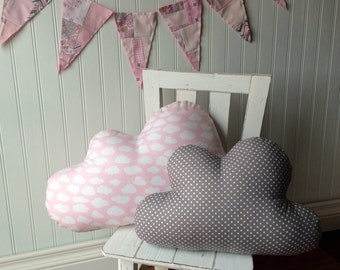 SALE!! Pink nursery, pink and grey cloud pillows, set of 2, pink cloud pillow, grey pillow, cloud nursery decor by Whimsysweetwhimsy, ready