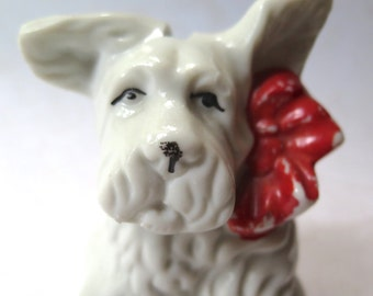 Scottie Dog Bank Vintage Japan Ceramic Figurine 1940s White with Red Bow Retro Collectible