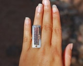 Raw Purple & Pink Bi Color Rough Tourmaline Sterling Silver Ring