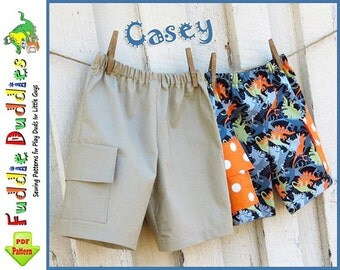 Casey...Boy's Shorts Pattern. pdf Sewing pattern. INSTANT DOWNLOAD. Boy's Sewing Pattern. Toddler Cargo Shorts Pattern. Size 12mo-size 10.