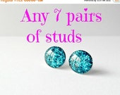 Studs set of 7, preppy earrings, bridemaid gift, delicate jewelry, wedding post earrings, pick any design