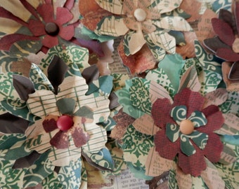 PAPER FLOWERS set/5 A Walk in the Woods - Greens, Browns, Rust, Creams
