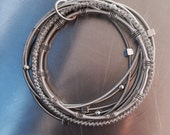 Gorgeous mixed texture Silver Piano Wire Bracelet