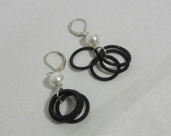 Black Piano Wire & Pearl Earrings