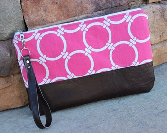 Large Clutch Wristlet Bright Pink Circle Links (Nautical) Canvas with Dark Brown Faux Leather