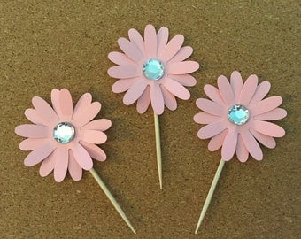 12  Flower cupcake toppers-Flower with gems, Flower appetizer picks,  Flower power toppers