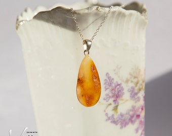 Honey orange natural Baltic amber pendant matte color, sterling silver necklace, natural amber, light weight natural teardrop pendant