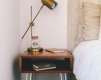Solid Walnut Wood Floating Nightstand or End Table