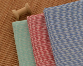 Striped Linen Cotton Fabric in Blue, Red or Green MJ465