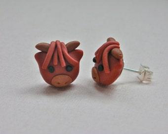 Highland Cow Earrings - red/rust/orange scottish costume jewellery/jewelry Handmade Polymer Clay