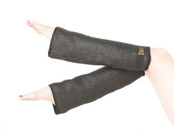 Coated wool leg warmers