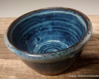 Ceramic Dip Bowl - Handmade Pottery - Blue Stoneware