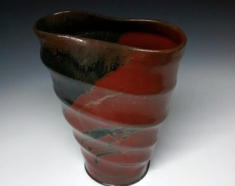 Altered Utensil Holder - Ceramic Vase - Handmade Pottery - Rustic Red Stoneware